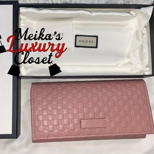 Gucci continental Wallet soft pink gg full-size